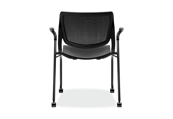 HON Motivate Stacking Chairs Onyx Color Fixed Arms Back View HMN1.F.A.IM.ON.BLCK