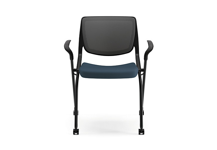 HON Motivate Stacking Chairs Centurion Cerulean Fixed Arms Flex-Back Front View HMN2.F.A.IM.RE.CU90.BLCK