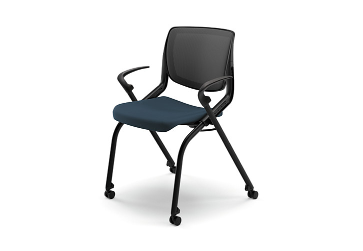 HON Motivate Stacking Chairs Centurion Cerulean Fixed Arms Flex-Back Front Side View HMN2.F.A.IM.RE.CU90.BLCK
