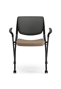 HON Motivate Stacking Chairs Centurion Morel Fixed Arms Flex-Back Front View HMN2.F.A.IM.SD.CU24.BLCK