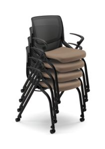 HON Motivate Stacking Chairs Centurion Morel Fixed Arms Flex-Back Front Side View HMN2.F.A.IM.SD.CU24.BLCK