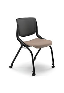 HON Motivate Stacking Chairs Centurion Morel Armless Flex-Back Front Side View HMN2.N.A.IM.SD.CU24.BLCK