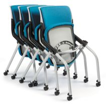 HON Motivate Stacking Chairs Turquoise Armless Flex-Back Front Side View HMN2.N.A.PB.LO.GR41.PLAT