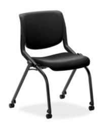 HON Motivate Stacking Chairs Polyurethane Black Armless Flex-Back Front Side View HMN2.N.A.PB.ON.UR10.BLCK