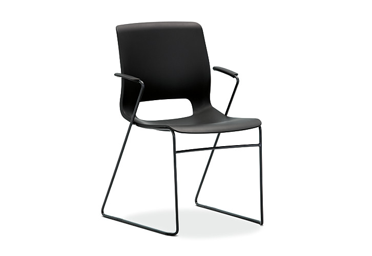 HON Motivate High-Density Stacking Chair Black Front Side View HMS1.F.ON.BLCK