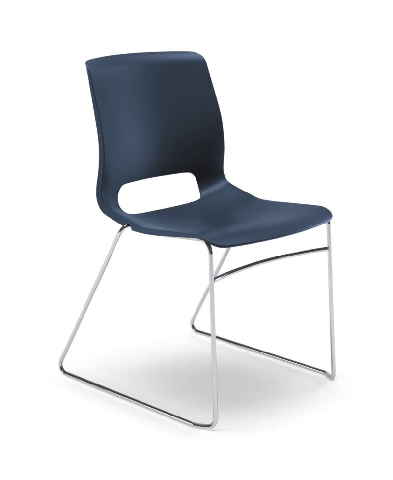 HON Motivate High-Density Stacking Chair Dark Blue Armless Front Side View HMS1.N.RE.Y