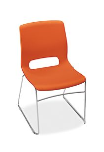 HON Motivate High-Density Stacking Chair Tangelo Color Front Side View HMS1.N.RG.Y