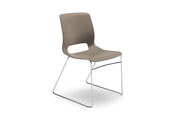 HON Motivate High-Density Stacking Chair Tan Armless Front Side View HMS1.N.SD.Y