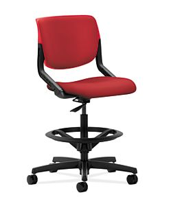 HON Motivate Task Stool Inertia Cherry Flex-Back Front Side View HMT5.N.S.PB.CR.NR66.SB.T