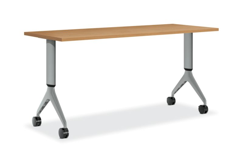 HON Motivate Rectangular Table with Height-Adjustable Base Harvest Color Front Side View HMVR-2460G-AH.N.C.C.C.T1