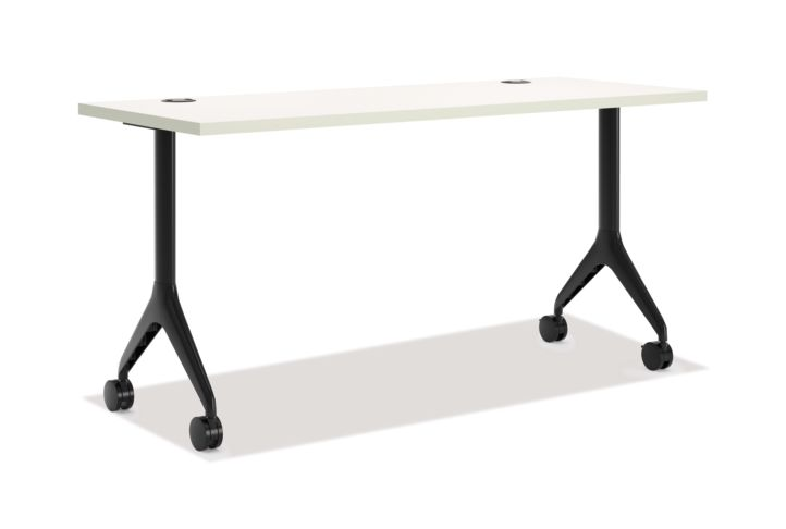 HON Motivate Rectangular Table with Fixed Base White Front Side View HMVR-2460G-FX.G.B9.Q.C.P