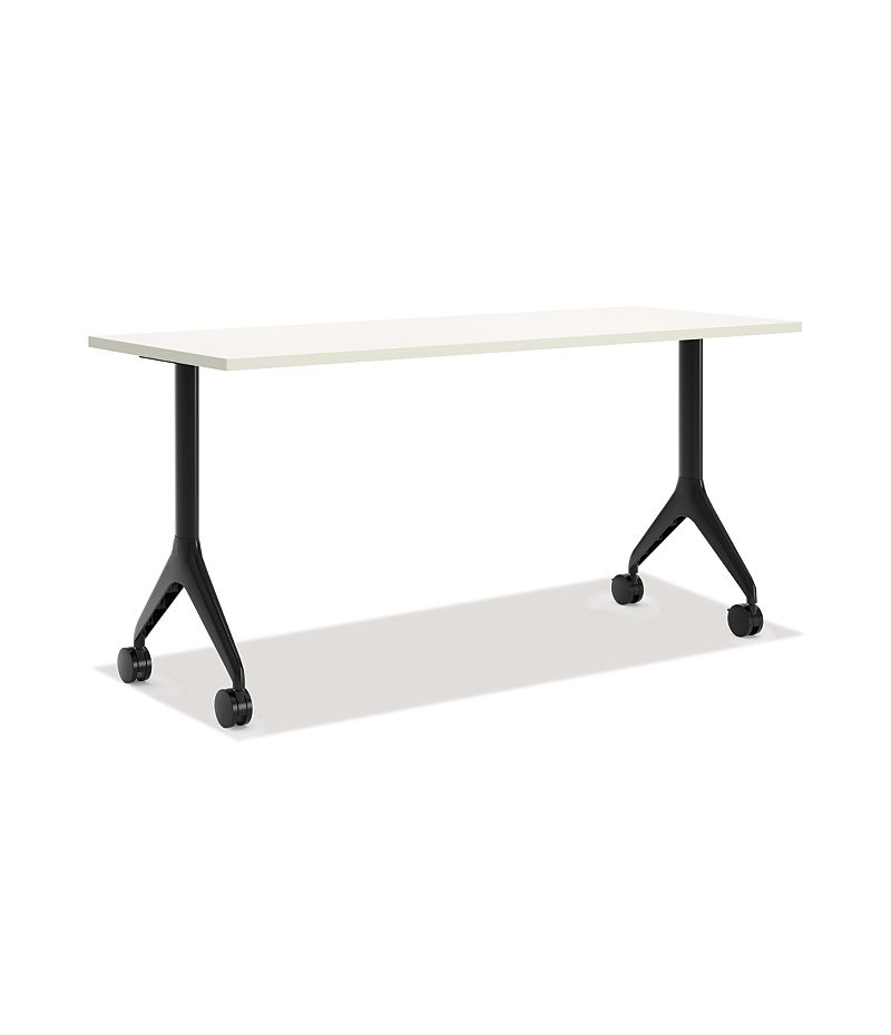 HON Motivate Rectangular Table with Fixed Base White Front Side View HMVR-2460G-FX.N.B9.Q.C.P