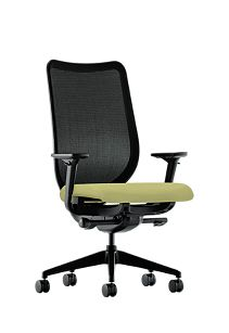 HON Nucleus Task Chair Black Back Green Seat Adjustable Arms Mesh Back Front Side View HN1.A.H.IM.NR82.SB.T