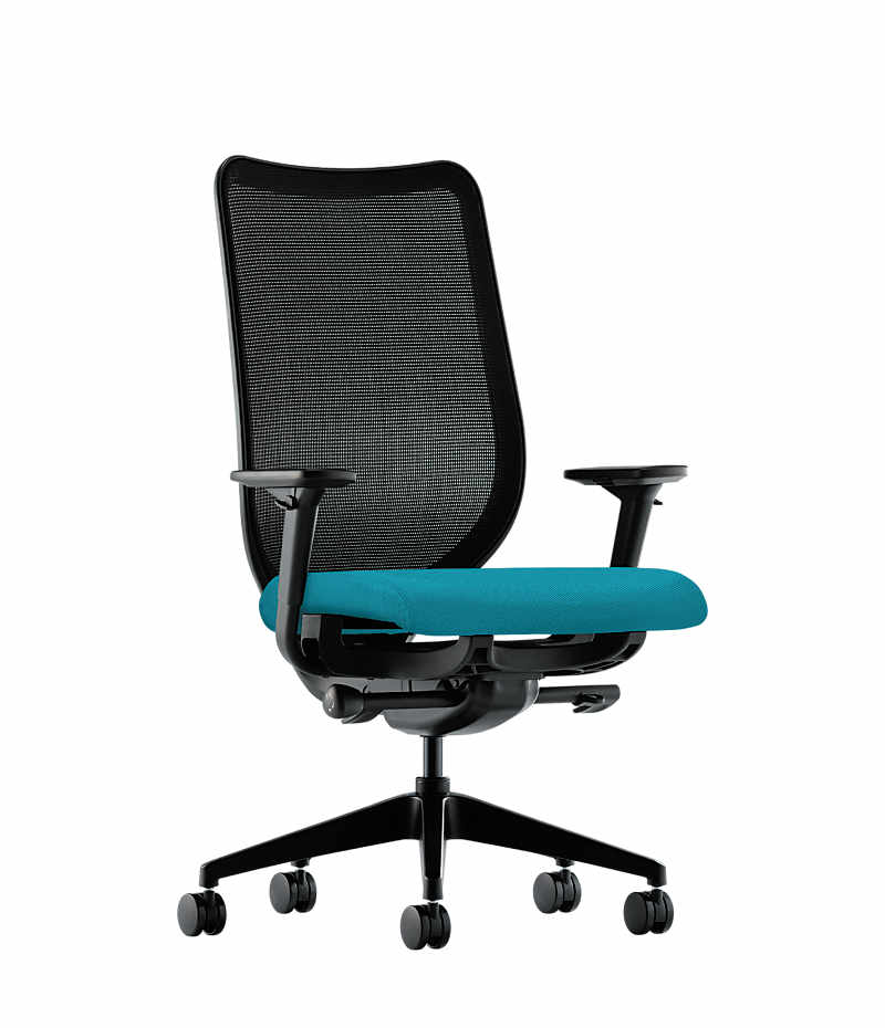blue task chair office task chairs. hon nucleus task chair blue adjustable arms mesh back front side view hn1ahim office chairs c