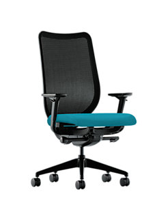 HON Nucleus Task Chair Blue Adjustable Arms Mesh Back Front Side View HN1.A.H.IM.NR98.SB.T