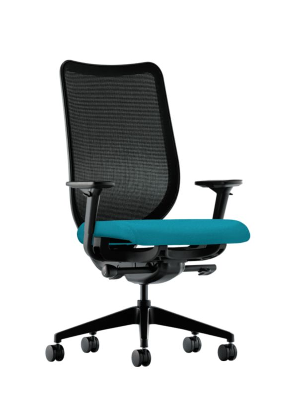 Superieur HON Nucleus Task Chair Blue Adjustable Arms Mesh Back Front Side View  HN1.A.H.IM