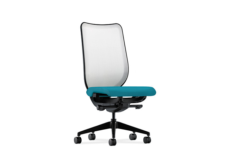 HON Nucleus Task Chair White back Blue Seat Armless Mesh Back Front Side View HN1.N.H.IF.NR98.SB.T