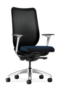 HON Nucleus Task Chair Black Back Blue Seat Fixed Arms Mesh Back Front Side View HN1.P.H.IM.NT90.PA.T1