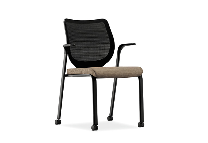 HON Nucleus Stacking Chair Centurion Attire Taupe Color Black Frame Color Fixed Arms Front Side View HN6.F.A.IM.AI26.T