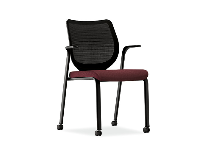 HON Nucleus Stacking Chair Tectonic Wine Color Black Frame Color Fixed Arms Front Side View HN6.F.A.IM.NT69.T