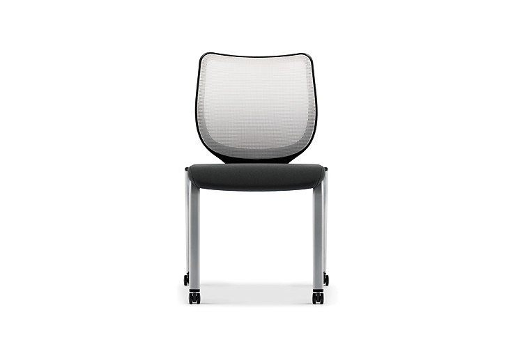 HON Nucleus Stacking Chairs Black Seat White Platinum Frame Color Armless Front View HN6.N.A.IF.MD02.C