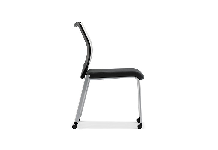 HON Nucleus Stacking Chairs Black Seat White Platinum Frame Color Armless Side View HN6.N.A.IF.MD02.C