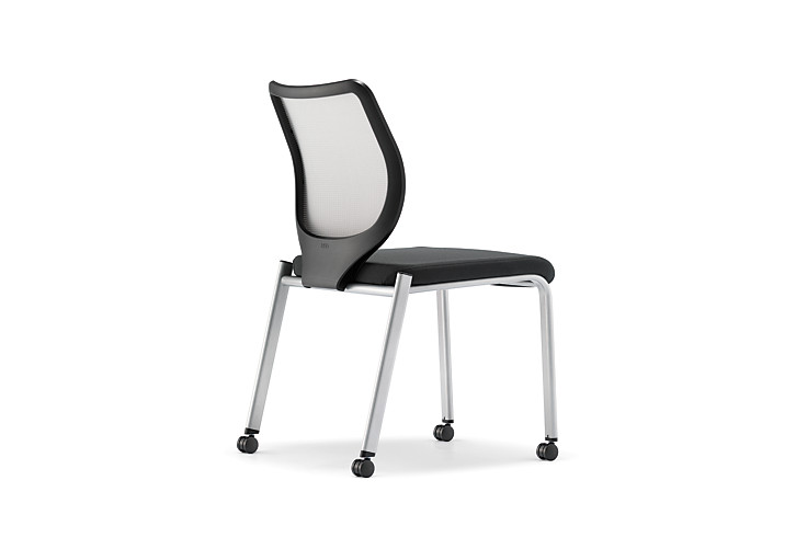 HON Nucleus Stacking Chairs Black Seat White Platinum Frame Color Armless Back Side View HN6.N.A.IF.MD02.C