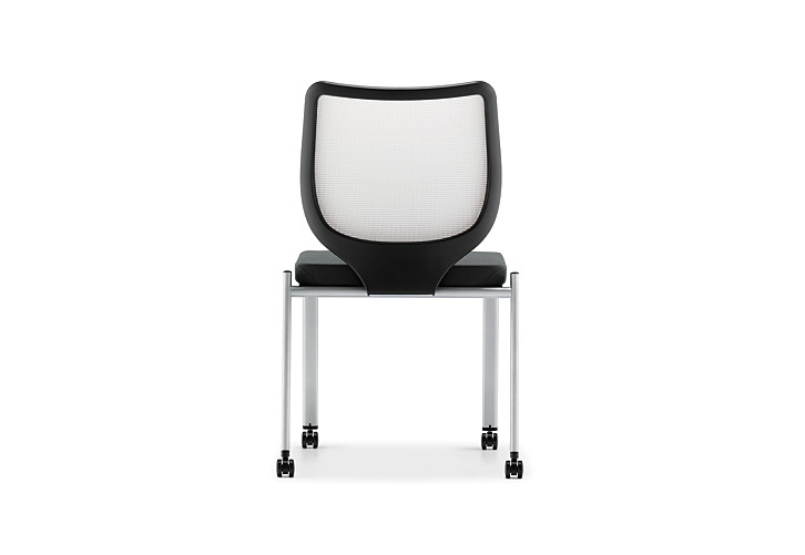 HON Nucleus Stacking Chairs Black Seat White Platinum Frame Color Armless Back View HN6.N.A.IF.MD02.C