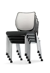 HON Nucleus Stacking Chairs Black White Seat White Platinum Frame Color Armless Front Side View HN6.N.A.IF.MD02.C