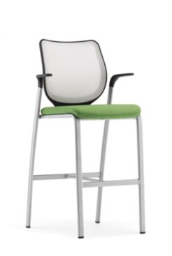 HON Nucleus Stool Fog Platinum Frame Color Fixed Arms Front Side View HN7.F.E.IF.LS77.T1