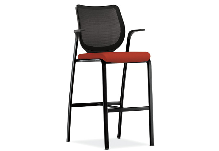 HON Nucleus Stool Centurion Poppy Color Black Frame Color Fixed Arms Front Side View HN7.F.E.IM.CU42.T