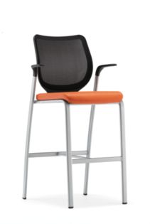HON Nucleus Stool Vinyl Mandarin Platinum Frame Color Fixed Arms Front Side View HN7.F.E.IM.SX11.T1