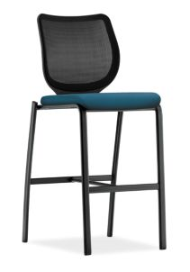 HON Nucleus Stool Moguls Waterfall Black Frame Color Armless Front Side View HN7.N.E.IM.MOG26.T