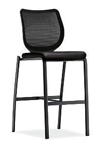HON Nucleus Stool Black Leather Black Frame Color Armless Front Side View HN7.N.E.IM.SS11.T