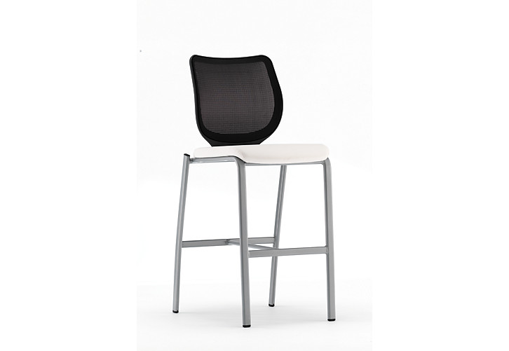 HON Nucleus Stool Brilliant White Platinum Frame Color Armless Front Side View HN7.N.E.IM.WP16.C.T