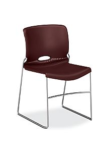 HON Olson High-Density Stacking Chair Dark Red Front Side View H4041.65.Y