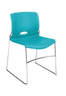 HON Olson High-Density Stacking Chair Turquoise Front Side View H4041.CP.Y