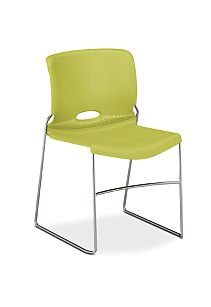HON Olson High-Density Stacking Chair Light Green Front Side View H4041.LM.Y