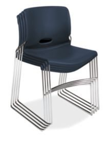 HON Olson High-Density Stacking Chairs Dark Blue Front Side View H4041.RE.Y