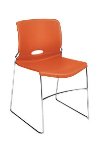 HON Olson High-Density Stacking Chair Orange Front Side View H4041.RG.Y