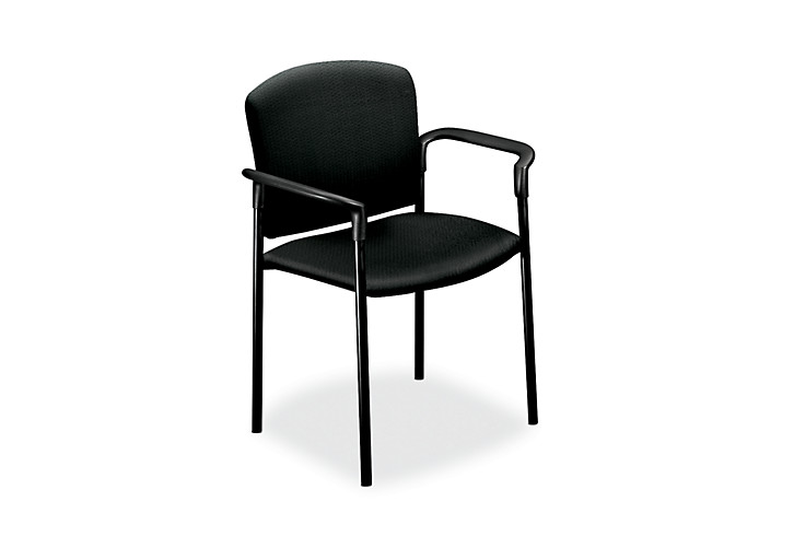 HON Pagoda Stacking Guest Chair Classic Iron Front Side View H4071.BK19.T