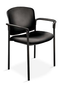 HON Pagoda Stacking Guest Chair Vinyl Black Front Side View H4071.EE11.T
