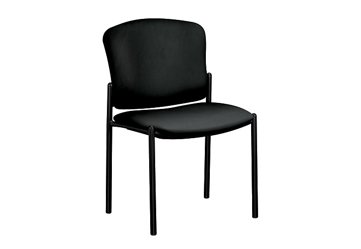 HON Pagoda Stacking Guest Chairs Vinyl Black Armless Front Side View H4073.EE11.T