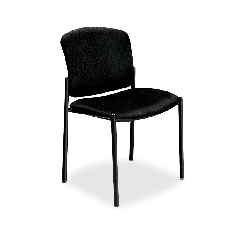 HON Pagoda Stacking Guest Chairs Tectonic Black Armless Front Side View H4073.NT10.T