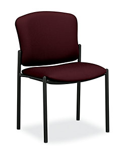HON Pagoda Stacking Guest Chairs Tectonic Wine Armless Front Side View H4073.NT69.T