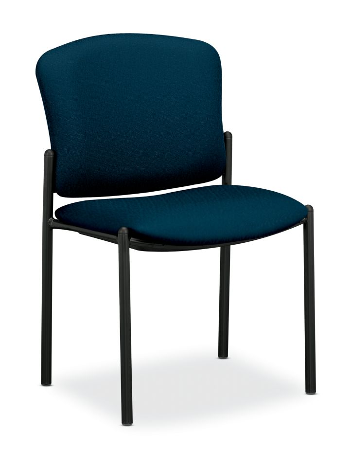 HON Pagoda Stacking Guest Chairs Tectonic Mariner Armless Front Side View H4073.NT90.T