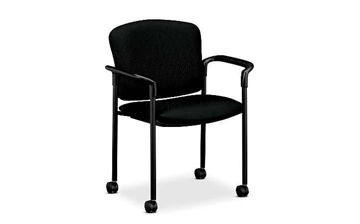 HON Pagoda Stacking Guest Chair Tectonic Black Hard Caster Front Side View H4075.H.NT10.T