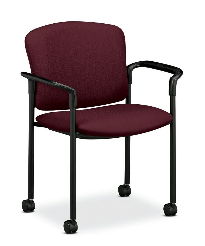 HON Pagoda Stacking Guest Chair Tectonic Wine Hard Caster Front Side View H4075.H.NT69.T
