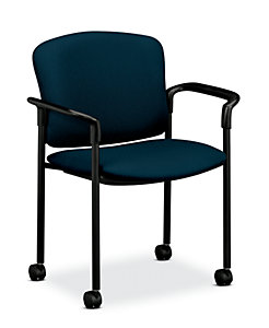 HON Pagoda Stacking Guest Chair Tectonic Mariner Hard Caster Front Side View H4075.H.NT90.T