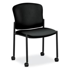 HON Pagoda Stacking Guest Chair Vinyl Black Armless Caster Front Side View H4077.H.EE11.T